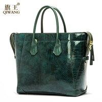Qiwang зеленый роскошный сумка для Для женщин натуральная кожа блестящая сумки Для женщин бренд дизайн сумки Высокое качество для богаче