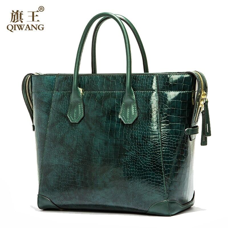 Qiwang Verde Borsa di Lusso per Le Donne del Cuoio Genuino Lucido Sacchetti di Tote Delle Donne Borsa di Disegno di Marca di Alta Qualità per il Più Ricco