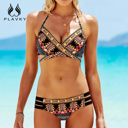 PLAVKY 2018 Sexy Cross Bandage Boho Biquini String Swim Wear Bathing Suit Swimsuit Beachwear Swimwear Women Brazilian Bikini