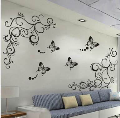 Classical black flower vine for Parlor wall decal ZooYoo051S decorative adesivo de parede removable pvc wall sticker