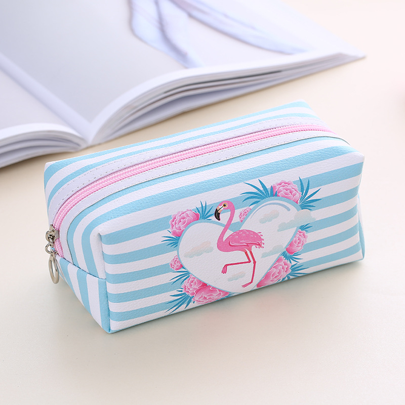 PURDORED 1 Pc Cute Flamingo Cosmetic Bag PU Leather Waterproof Cartoon Women Makeup Bag Zipper Travel Makeup Organizer  Pouch