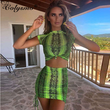 Colysmo Sexy Mesh Two Piece Set 2019 Summer Drawstring Lace Up Ruched Beach Matching Sets Women Python Print Crop Top Skirt