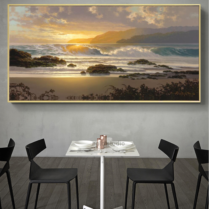 Oil Pianting Posters and Prints Wall Art Canvas Painting Abstract Seascape Sunset Pictures for Living Room Home Decor No Frame in Painting Calligraphy from Home Garden