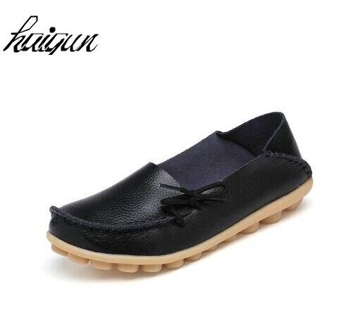 2017 Schuhe Frau Echtem Leder Frauen Schuhe Wohnungen Farben Schuhe Loafers Beleg Auf Frauen Flache Schuhe Mokassins Plus Größe 34-44 Online Shop