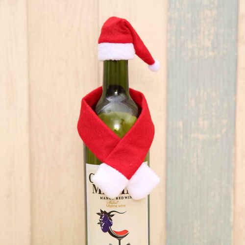 Hot New Rolha de Garrafa Garrafa de Vinho Acessório Chapéu de Papai Noel Do Natal Cachecol Encantos Presente DIY Decorações