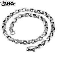 ZABRA Luxury Solid 925 Silver Thick 8mm 55cm Vintage Biker Men Chain Necklace Punk Cool Thai