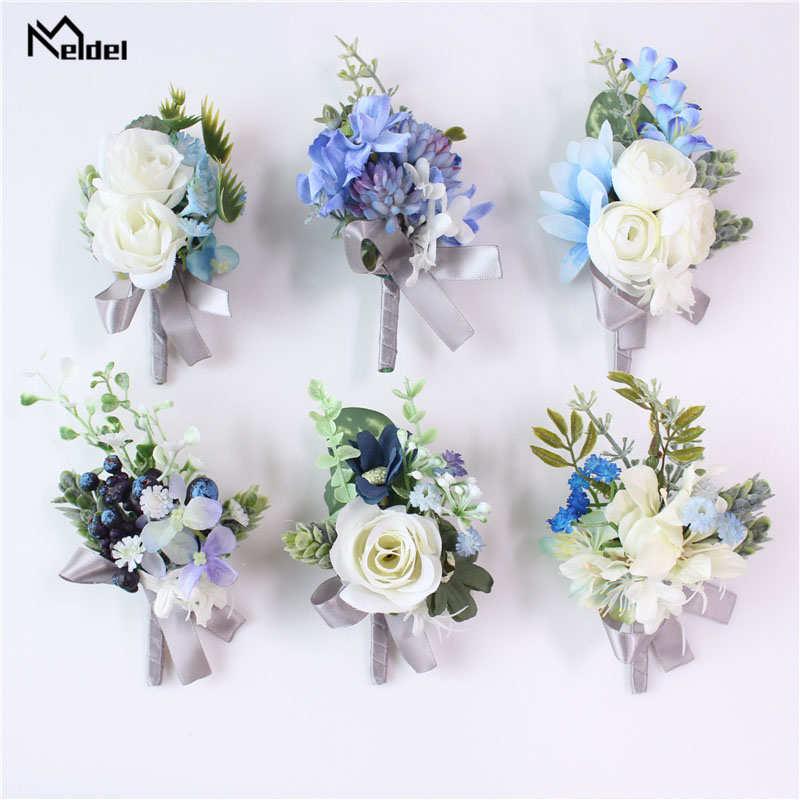Meldel Corsage Bridegroom Boutonniere Lapel Pin Bride Wrist Corsage White Blue Rose Bracelet Wedding Party Personal Floral Decor