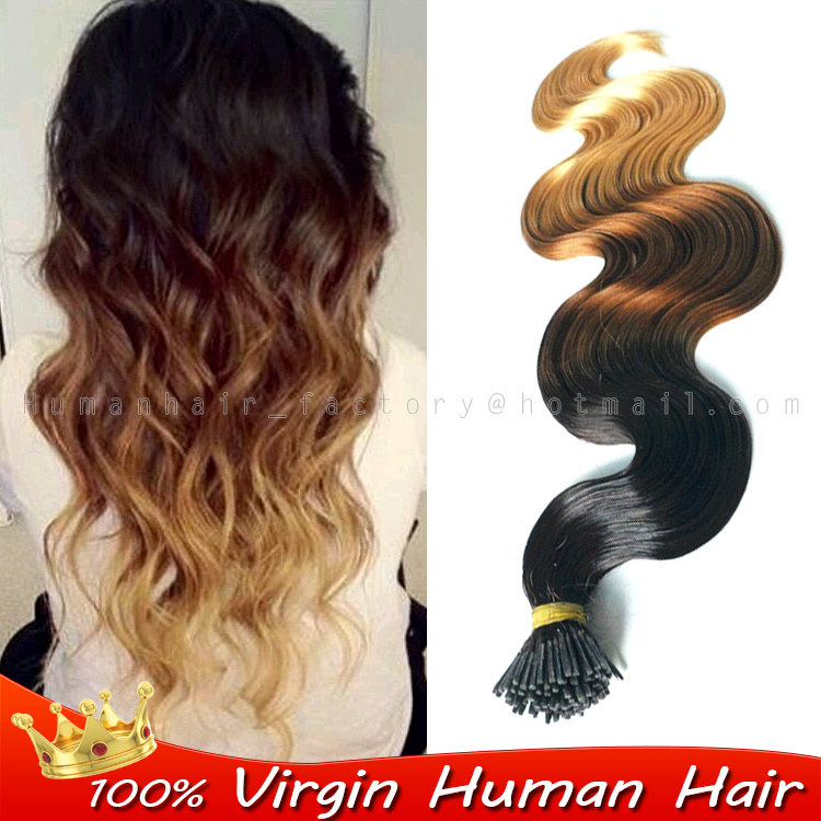 100 Human Real Hair Fusion Extensions 3 Tone Ombre I Nail Tip