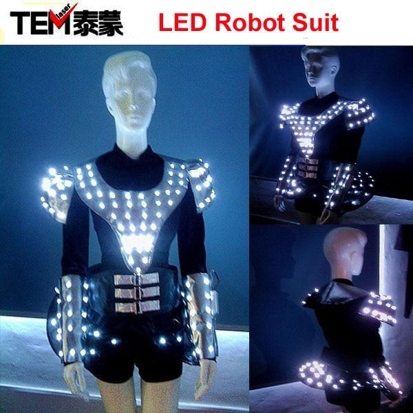 Future Female Soldiers LED Robot Suit, Illuminated LED Clothing / Light Up Dress / luminous costume