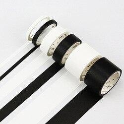 5 мм/15 мм однотонная белая черная Базовая декоративная бумага, записываемая клейкая лента васи, маскирующая лента, школьные принадлежности, ...