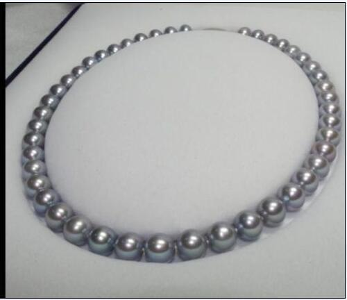 charming AAAA 10 11 mm natural silver grey pearl necklace 18 inch