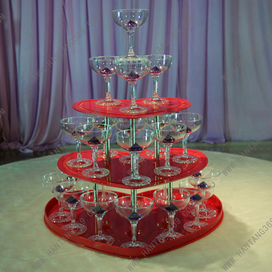Banquet champagne tower,Party table wine tower, three tiers heart shaped red wine tower, festive party supplies