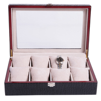 Leather watch box jewelry box leather solid wood watch box/case/organizer High grade tabletop watch show case