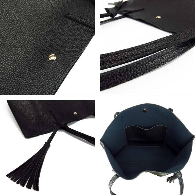 Artificial leather hand bag female tassel handbag woman new arrival rivet new big shoulder bag 2017 designer ladies totes