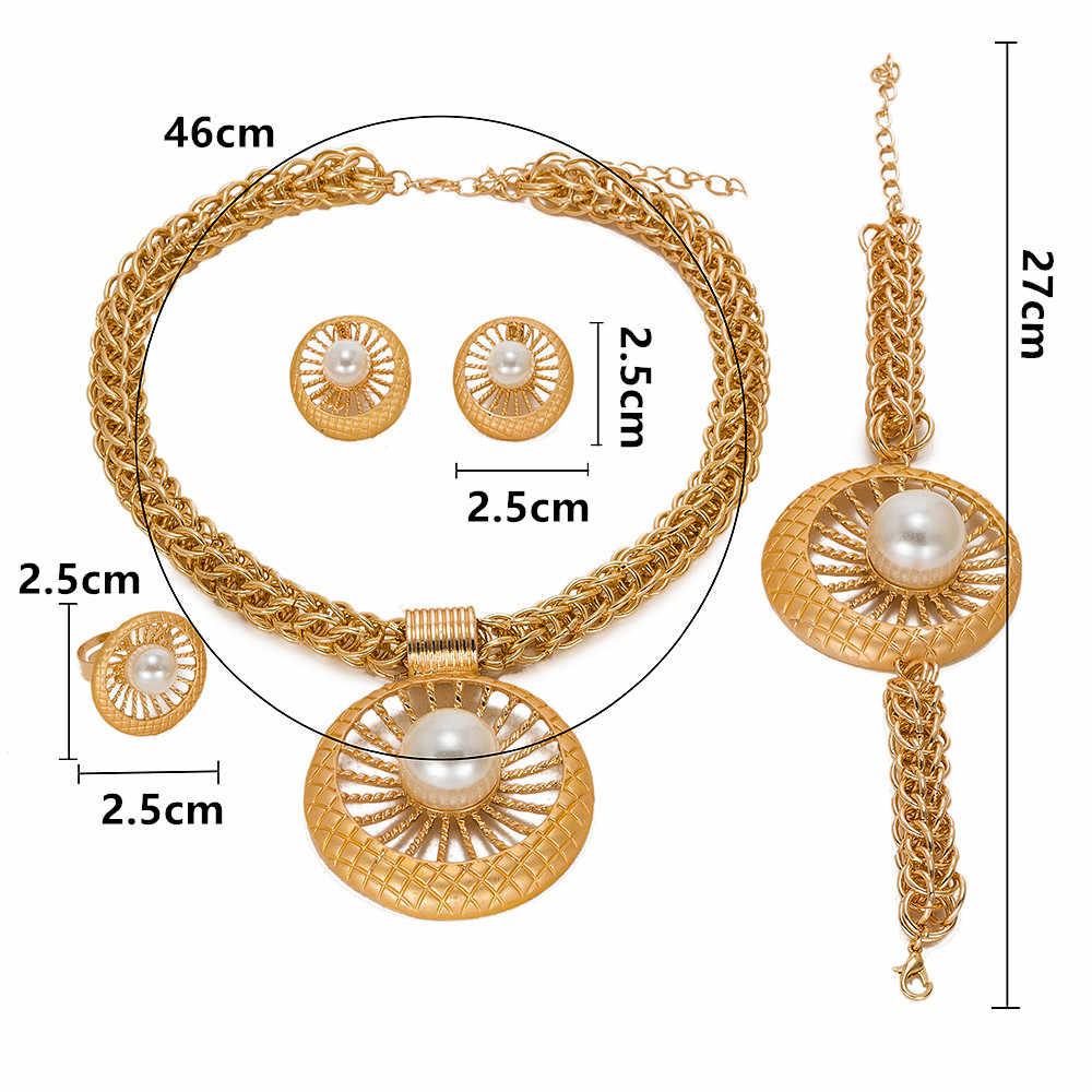 MUKUN Новый Модный Ювелирный Африканский для женщин большой цепочки и ожерелья браслет кольца серьги комплект Дубай позолота ювелирные наборы