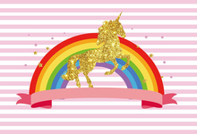 Laeacco Unicorn Party Rainbow Stripe Scene Baby Photography Backgrounds Customized Photographic Backdrops For Photo Studio