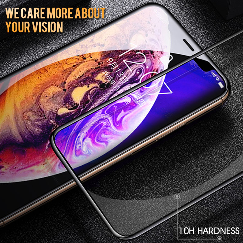 30D Protective glass on For iPhone X XR XS MAX Full Cover for iPhone 8 7 6 6s Screen Protector Glass on iPhone 11 Pro Max Glass