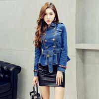 Женская джинсовая куртка, повседневная двубортная джинсовая куртка, Женская ветровка, короткая куртка с оборками, осенняя женская одежда