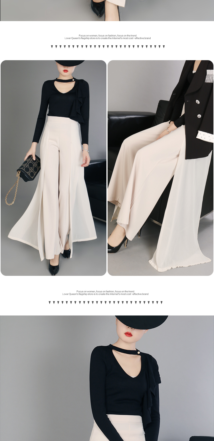 HTB1psz.MCzqK1RjSZFLq6An2XXar - Elegant women summer Wide leg pants elastic high waist split chiffon trousers Casual streetwear fashion female palazzo PA003