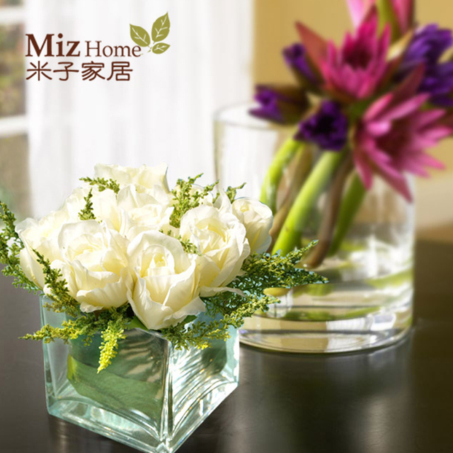 Yonago home wedding gifts imitation jewelry silk flower vases decorative ornaments square bottles overall floral & Yonago home wedding gifts imitation jewelry silk flower vases ...