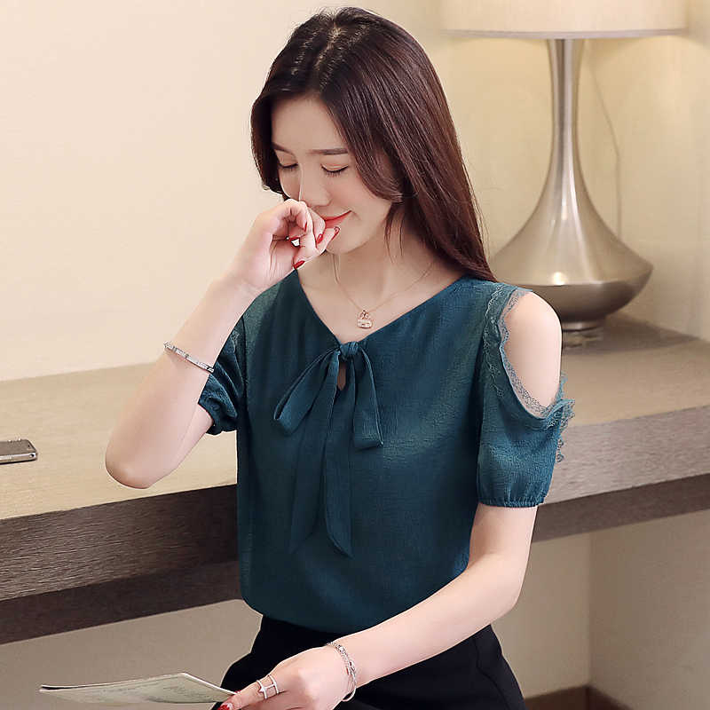 womens tops and blouses white blouse women short sleeve shirts Lace-up doll temperament strapless chiffon women shirts 3396 50