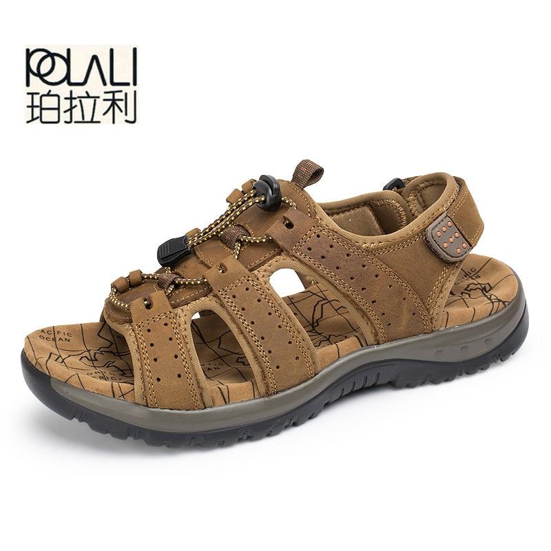 POLALI Men Shoes Sandalias Hombre Beach Summer Men Sandals Casual Shoes Outdoor Sandals Men's Sandals Summer Genuine Leather