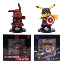 2 estilos Anime Q Ver Capitão América Pikachu Cosplay Deadpool Deadpool Action Figure Collectible Modelo Toy Presente PVC Estatueta(China)