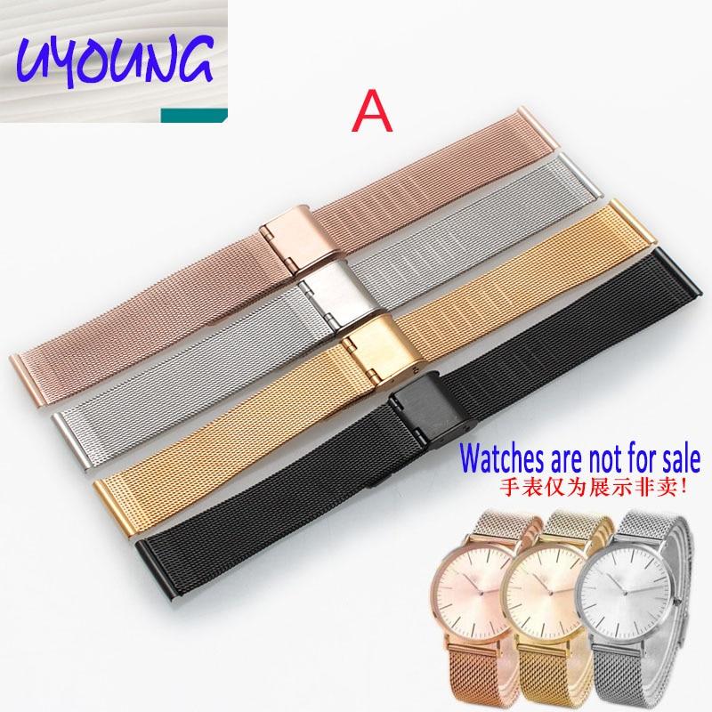 UYOUNG Milan montre en acier inoxydable ceinture substituts ticwatch de femmes ou hommes de marque 18/20/22/24mm