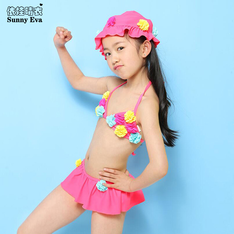 Sunny Eva Girls Swimsuit Children Bikini Two Piece Swimsuit Flowers Bathing Clothes Sexy Kids Bikini With Short 4colours Choose
