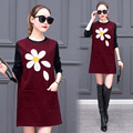 3xl plus big size women clothing 2017 spring autumn winter velvet thickening gray black cute sweet casual dress female A2506