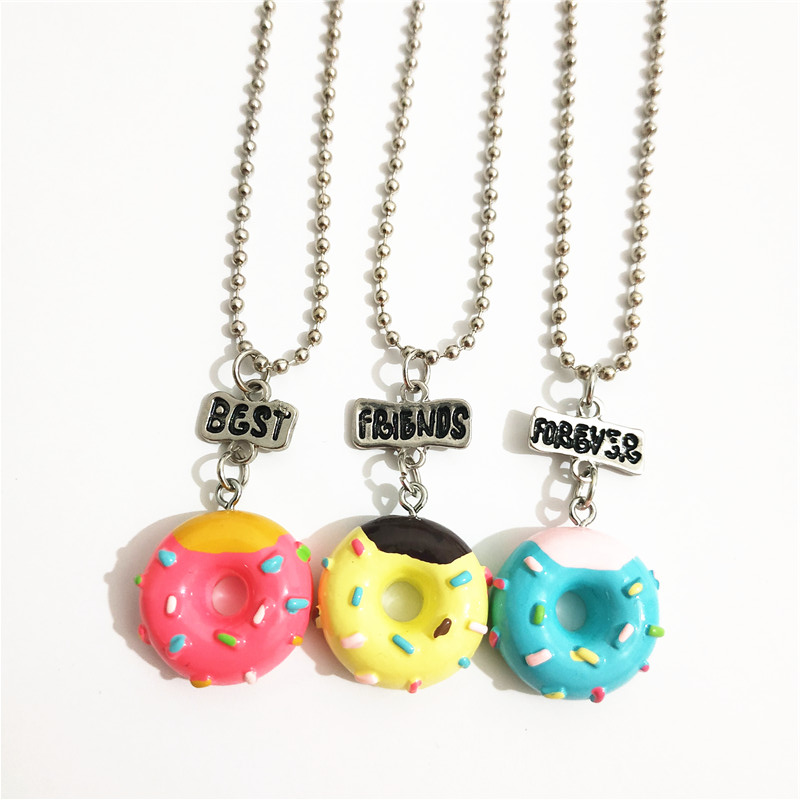 Cute 3 Pcs/lot BFF Doughnut Lollipop Necklace Set for Kids Girls Letter Best Friends Forever Wholesale Collares Candy Jewellery
