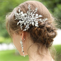 Dower me Fashion Hair Clip Women Comb White K color Leaf Bridal Headpiece Crystal Wedding Hair Piece Jewelry