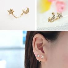 Rhinestone Star Moon Stud Earring Two Ear Holes Connection Stud Earrings Double Ear Hole Chain Earrings Fashion Jewelry WD288