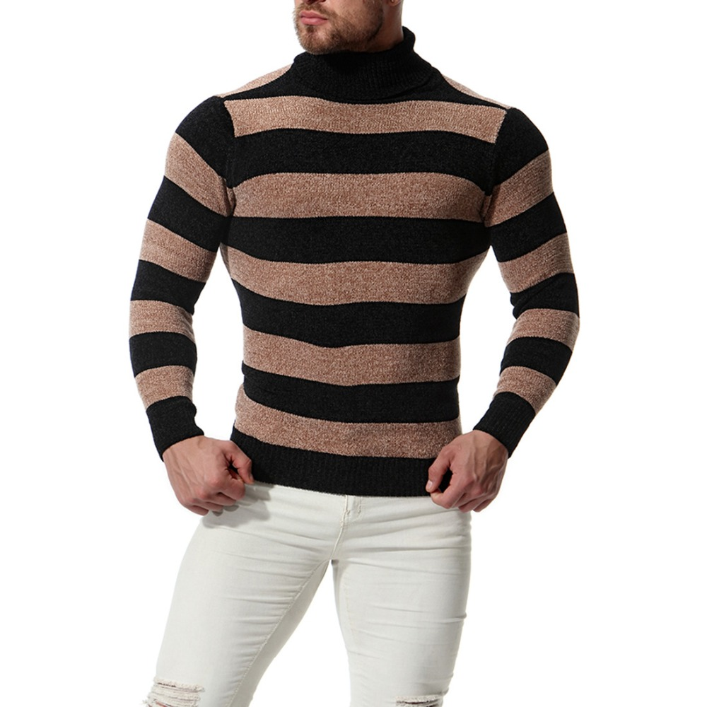 2018 New Fashion Men's High Lapels Pullover Slim Sweater Men Casual Cotton Striped Knit Bottoming Shirt For Male Autumn Winter