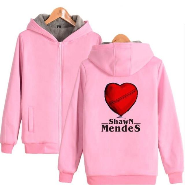 Más tamaño bombardero chaqueta mujeres cantante Shawn Mendes invierno  espesar cremallera con capucha Outwear abrigo caliente 4ca8e08522d