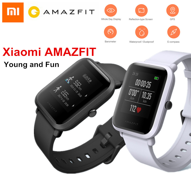 Xiaomi Huami AMAZFIT Smartwatch IP68 Waterproof Heart Rate Sleep Monitor Sensor GPS Bip BIT PACE Lite Youth Smart Watch english version original xiaomi huami amazfit youth smart watch bip bit face gps fitness tacker heart rate baro ip68 waterproof