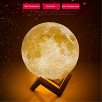 Rechargeable 3D Print Moon Lamp 2 Color Change Touch Switch Night Light Dimmable Bedroom Bookcase USB