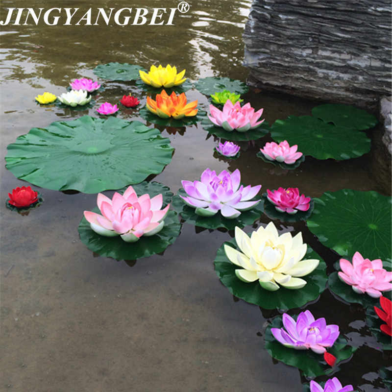 5//10PCS Artificial-Lotus Water Lily Floating Flower Garden Pool Pond Plant Decor