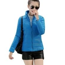 8 Colors Women Warm Ultra Light Cotton Blend Long Sleeve Zipper Jacket Outwear Coat LL6