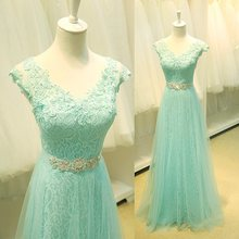 Fashion A-Line Straps V-Neck Lace Crystal Prom Gowns 2019 A-line Long Formal Party Dresses for Evening Customed Vestido De Noiva