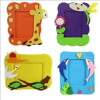 Us 1 78 10 Off Cartoon Intellectual Develop Kids Non Woven Photo Frame Diy Sewing Bag Cloth Kindergarden Handmade Crafts Children Gift Au065 In