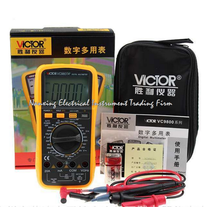 VICTOR VC9807A+ 4 1/2 AC/DC Resistance Digital Multimeters  Ammeter Voltmeter Ohmmeter conductivity Capacitance Frequency tester mastech my65 4 1 2 high accuracy digital multimeter dmm ac dc voltmeter ammeter ohmmeter w capacitance frequency