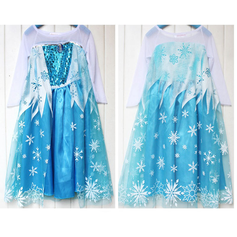 110cm-150cm Light Blue Dress Summer Elsa & Anna Snow Princess Dresses Party Costume Holloween Cosplay For Children Kids