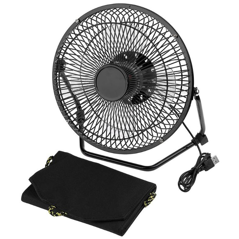 8 Inch Iron USB Cooling Fan With 7W Foldable Solar Panel Powered Powerbank For Home Office Outdoor Traveling Fishing Air Cooler8 Inch Iron USB Cooling Fan With 7W Foldable Solar Panel Powered Powerbank For Home Office Outdoor Traveling Fishing Air Cooler