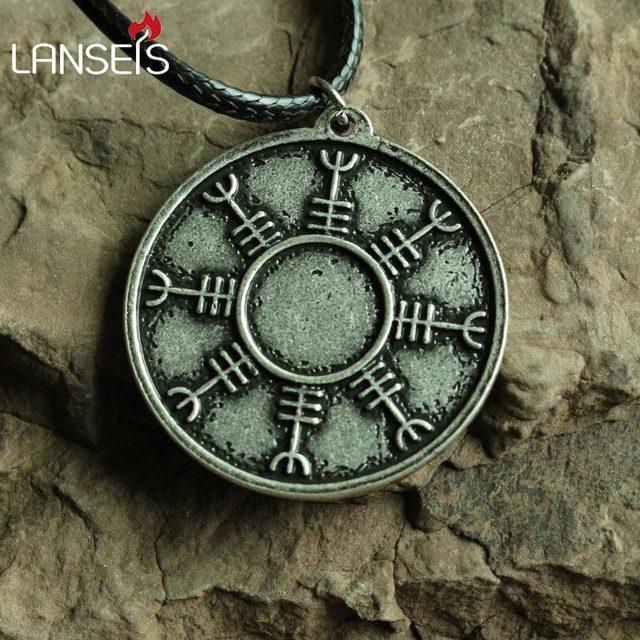 Lanseis10pc Retro Helm Of Awe Viking Icelandic Rune Pendant Ancient