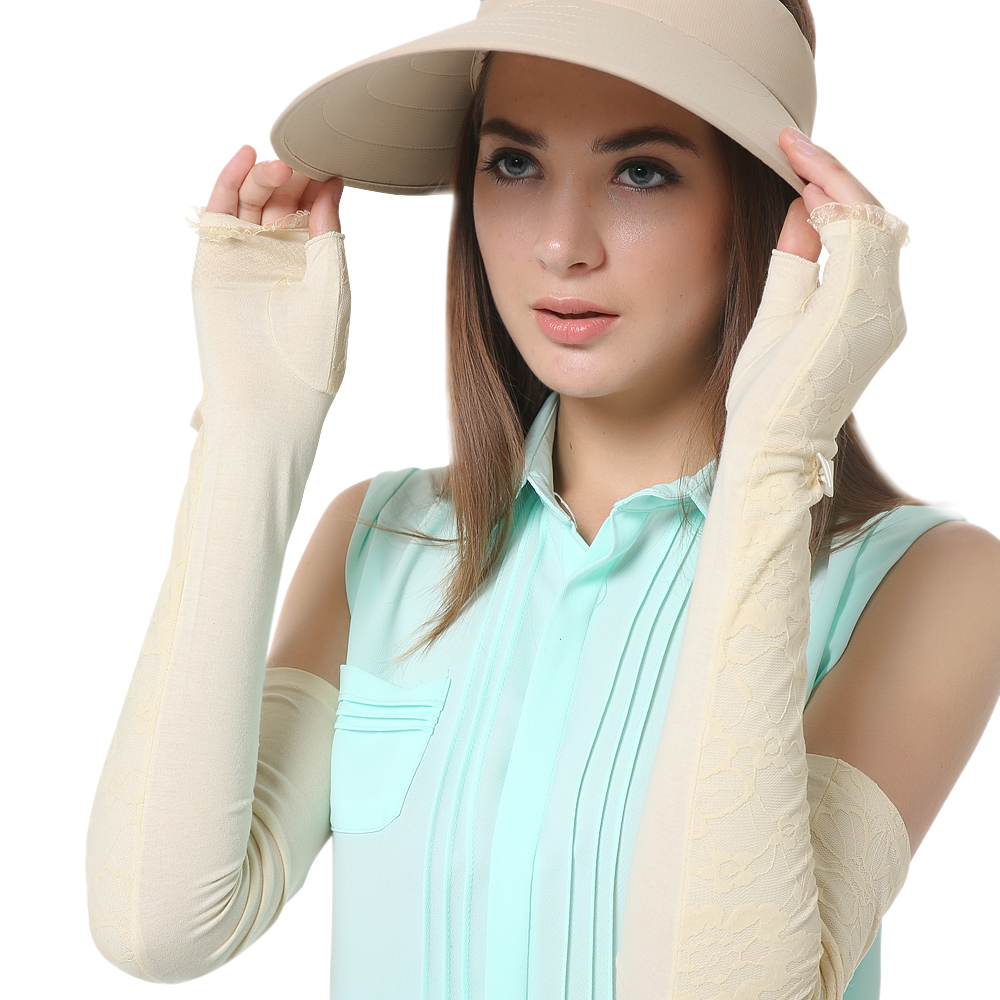 On Sale Fashion Women Sunscreen Gloves Female Lace Summer Finger Less Anti UV Opera Long Sun Driving Glove New Listing UV017C in Women 39 s Gloves from Apparel Accessories