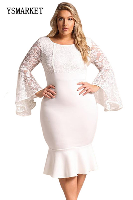 20ace501dbe 2018 New Design Women Fashion Lace Bell Sleeve Bodycon Dress Plus Size Sexy  Lace Floral Embroidery Ruffles Mermaid Dress E61875