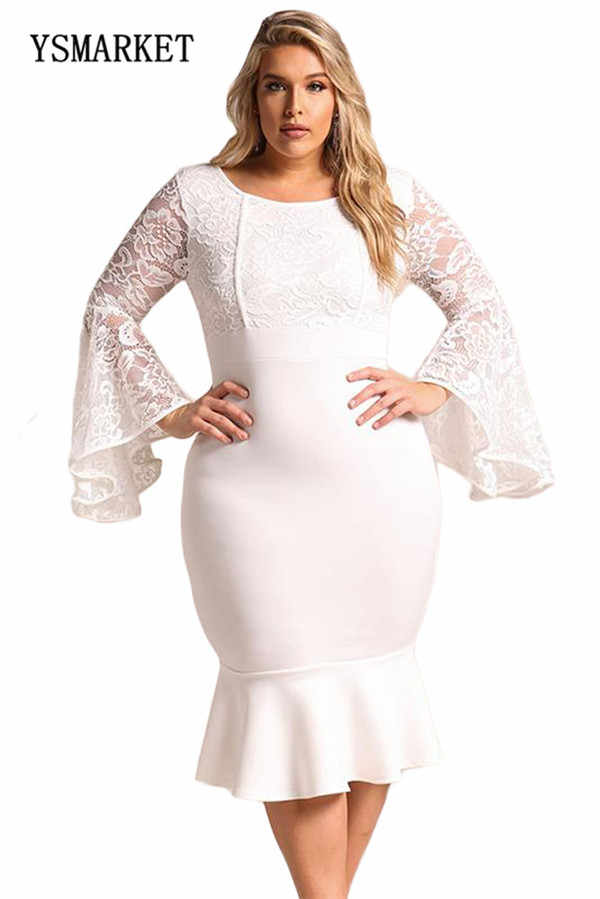 ce8c9516ee923 2018 New Design Women Fashion Lace Bell Sleeve Bodycon Dress Plus Size Sexy  Lace Floral Embroidery Ruffles Mermaid Dress E61875