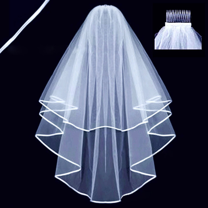 Bridal Veil Simple Short Veil With Comb