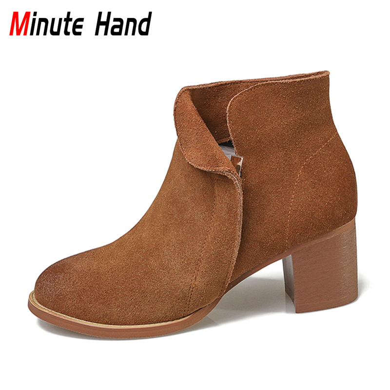 Minute Hand 2018 New Fashion Woman Genuine Leather Ankle Boots Chunky Heel Cow Suede Round Toe Side Zipper Booties Casual Shoes front lace up casual ankle boots autumn vintage brown new booties flat genuine leather suede shoes round toe fall female fashion